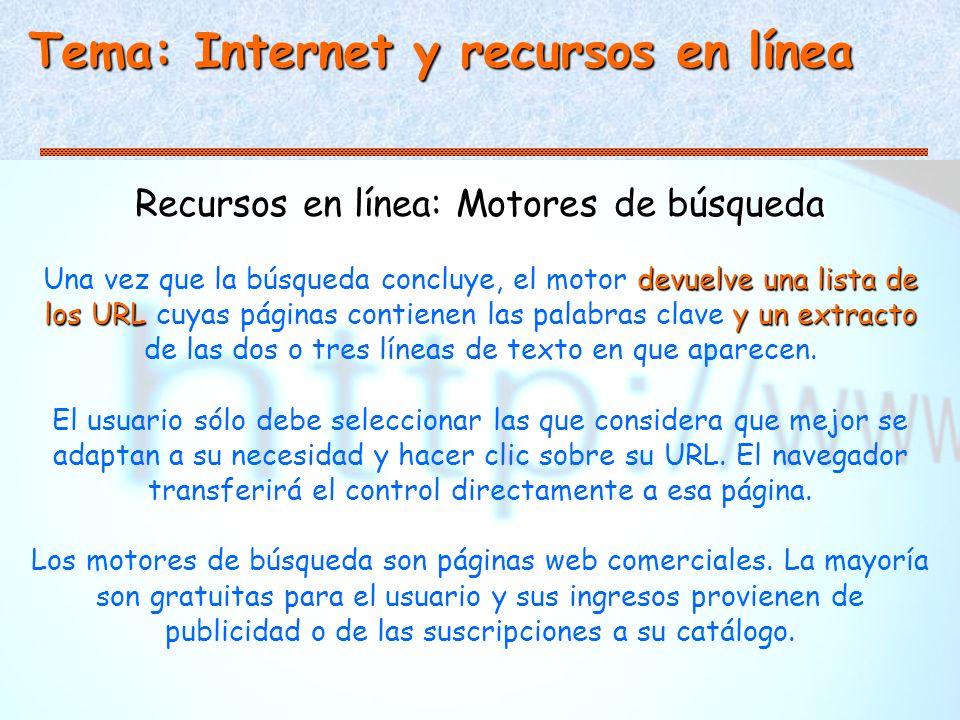 Tema: Internet y recursos en línea Recursos en línea: Motores de búsqueda devuelve una lista de los URLy un extracto Una vez que la búsqueda concluye, el motor devuelve una lista de los URL cuyas páginas contienen las palabras clave y un extracto de las dos o tres líneas de texto en que aparecen.