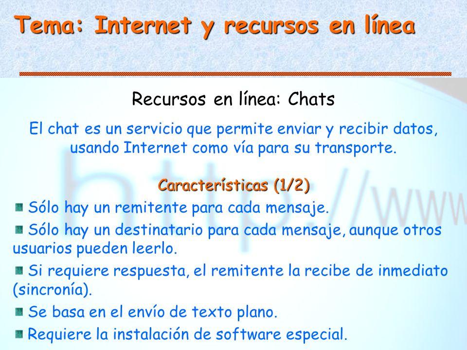 Tema: Internet y recursos en línea Recursos en línea: Chats El chat es un servicio que permite enviar y recibir datos, usando Internet como vía para su transporte.