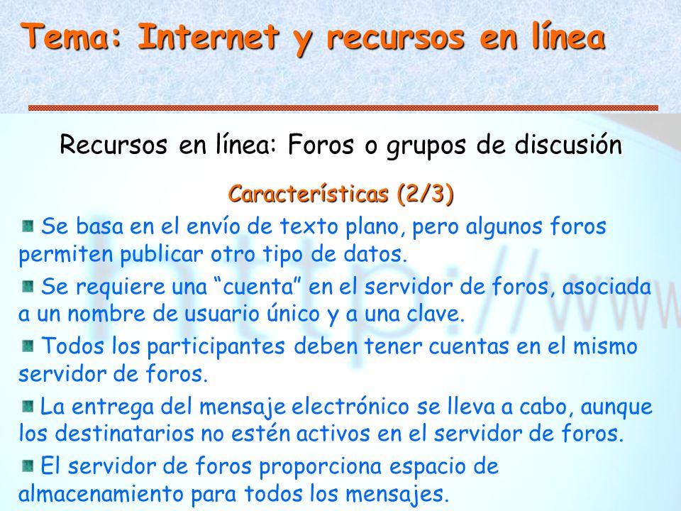Tema: Internet y recursos en línea Recursos en línea: Foros o grupos de discusión Características (2/3) Se basa en el envío de texto plano, pero algunos foros permiten publicar otro tipo de datos.