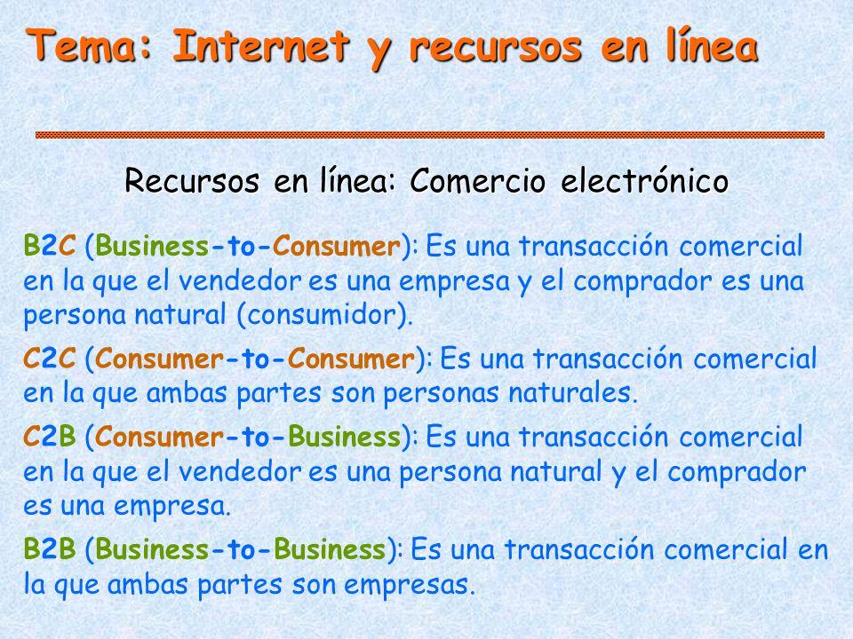 Tema: Internet y recursos en línea Recursos en línea: Comercio electrónico B2C (Business-to-Consumer): Es una transacción comercial en la que el vendedor es una empresa y el comprador es una persona natural (consumidor).