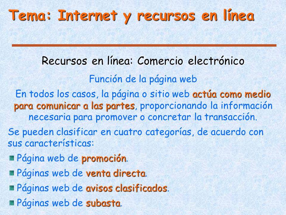 Tema: Internet y recursos en línea Recursos en línea: Comercio electrónico Función de la página web actúa como medio para comunicar a las partes En todos los casos, la página o sitio web actúa como medio para comunicar a las partes, proporcionando la información necesaria para promover o concretar la transacción.