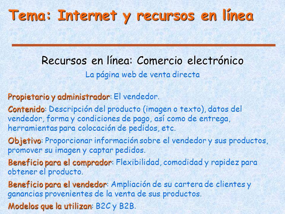 Tema: Internet y recursos en línea Recursos en línea: Comercio electrónico La página web de venta directa Propietario y administrador Propietario y administrador: El vendedor.