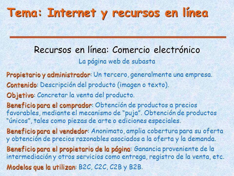 Tema: Internet y recursos en línea Recursos en línea: Comercio electrónico Propietario y administrador Propietario y administrador: Un tercero, generalmente una empresa.