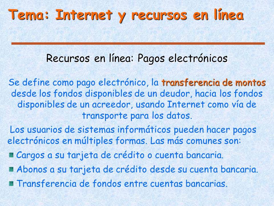 Tema: Internet y recursos en línea Recursos en línea: Pagos electrónicos transferencia de montos Se define como pago electrónico, la transferencia de montos desde los fondos disponibles de un deudor, hacia los fondos disponibles de un acreedor, usando Internet como vía de transporte para los datos.