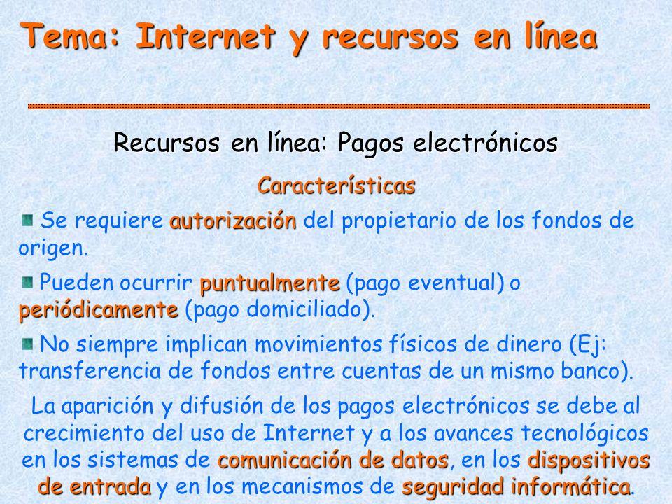 Tema: Internet y recursos en línea Recursos en línea: Pagos electrónicos Características autorización Se requiere autorización del propietario de los fondos de origen.