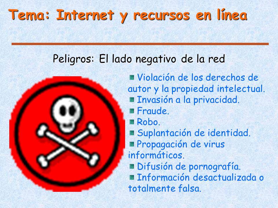 Tema: Internet y recursos en línea Peligros: El lado negativo de la red Violación de los derechos de autor y la propiedad intelectual.