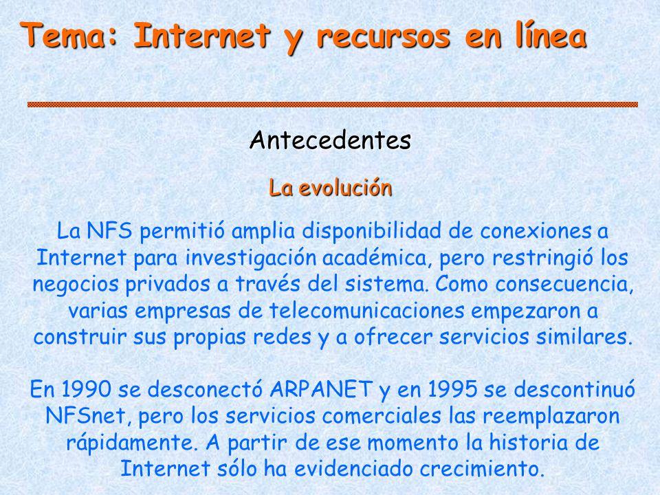 Antecedentes La NFS permitió amplia disponibilidad de conexiones a Internet para investigación académica, pero restringió los negocios privados a través del sistema.