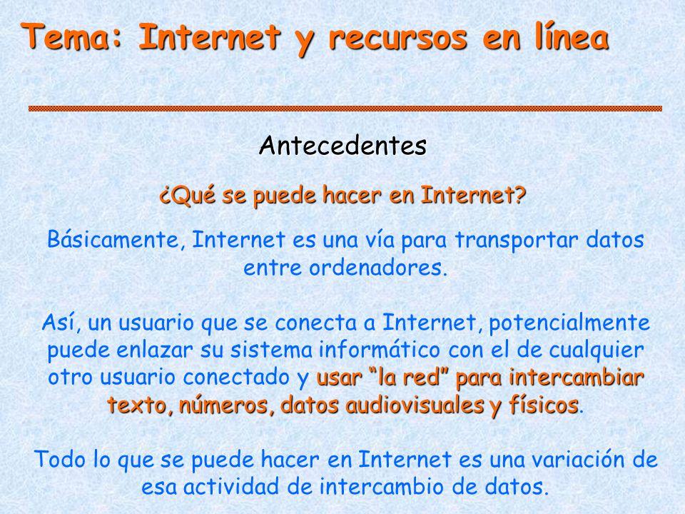 Antecedentes Básicamente, Internet es una vía para transportar datos entre ordenadores.
