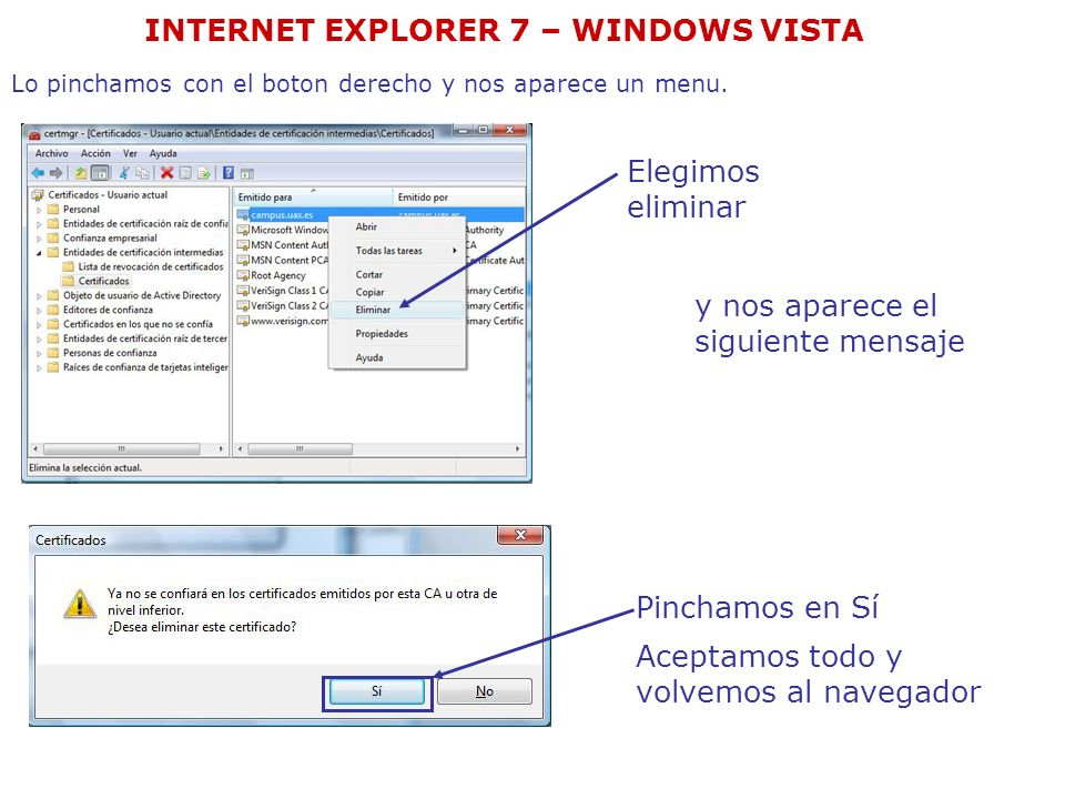 Entramos de nuevo en la pagina y nos vuelve a salir la pantalla Pinchamos la opción vaya a este sitio web (no recomendado) INTERNET EXPLORER 7 – WINDOWS VISTA