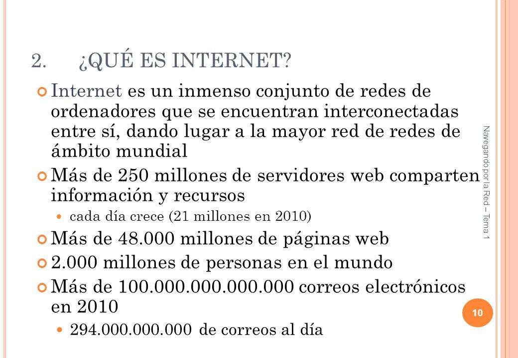 2.¿QUÉ ES INTERNET? Internet es un inmenso conjunto de redes de ordenadores que se encuentran interconectadas entre sí, dando lugar a la mayor red de