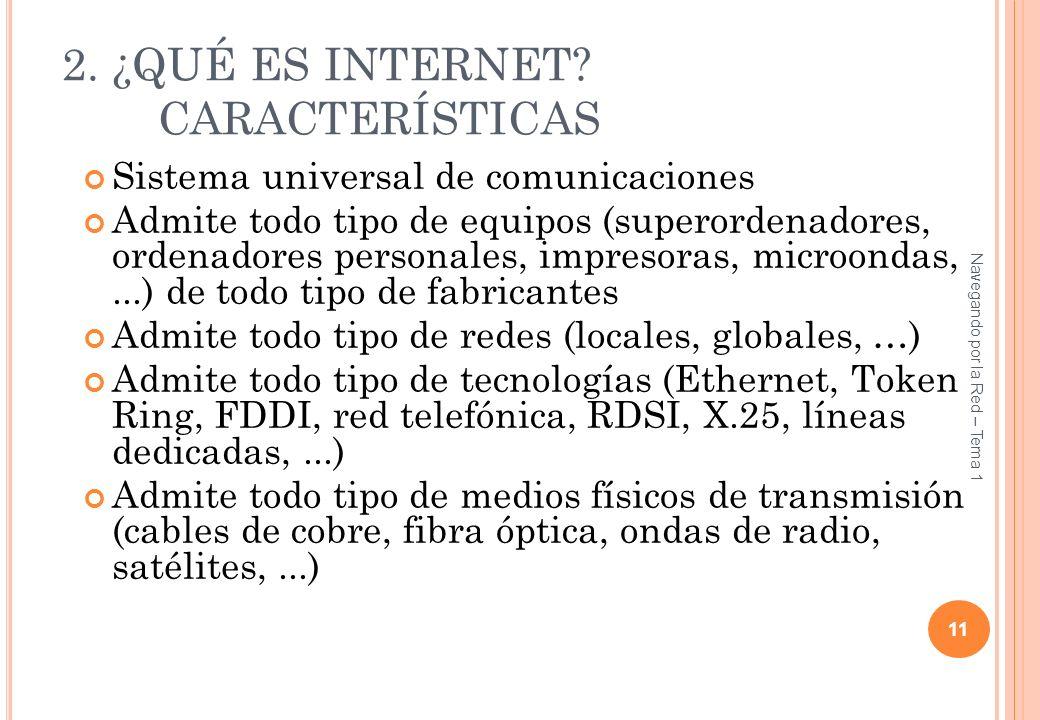 2. ¿QUÉ ES INTERNET? CARACTERÍSTICAS Sistema universal de comunicaciones Admite todo tipo de equipos (superordenadores, ordenadores personales, impres