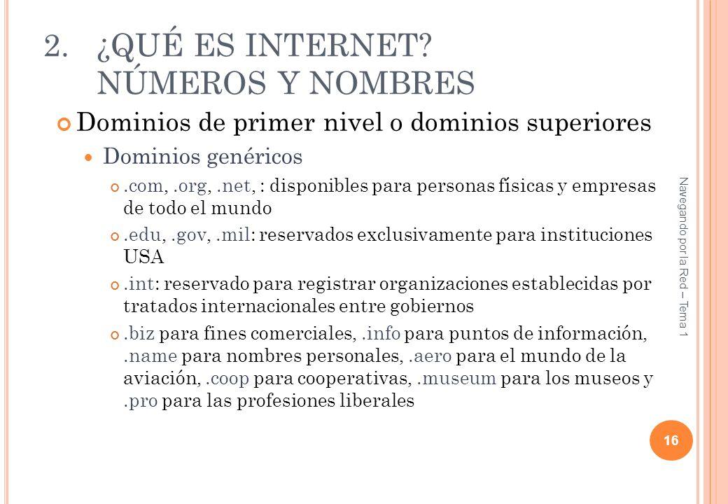 2.¿QUÉ ES INTERNET? NÚMEROS Y NOMBRES Dominios de primer nivel o dominios superiores Dominios genéricos.com,.org,.net, : disponibles para personas fís