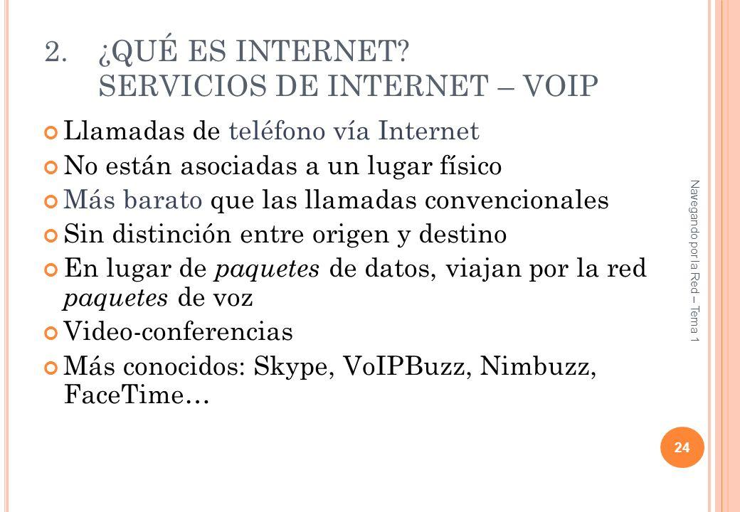 2.¿QUÉ ES INTERNET? SERVICIOS DE INTERNET – VOIP Llamadas de teléfono vía Internet No están asociadas a un lugar físico Más barato que las llamadas co