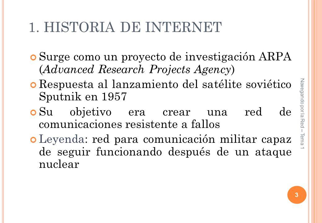 1. HISTORIA DE INTERNET Surge como un proyecto de investigación ARPA ( Advanced Research Projects Agency ) Respuesta al lanzamiento del satélite sovié
