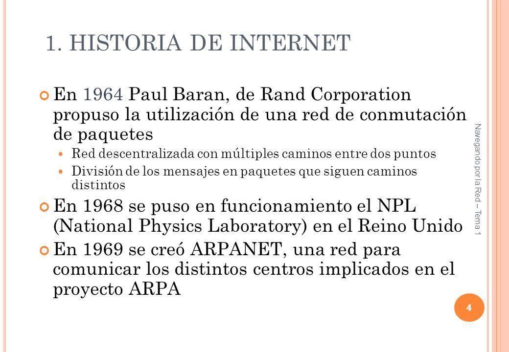 1. HISTORIA DE INTERNET En 1964 Paul Baran, de Rand Corporation propuso la utilización de una red de conmutación de paquetes Red descentralizada con m