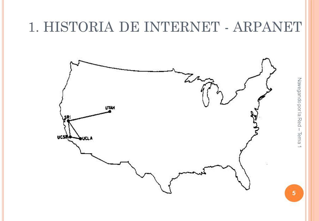 1. HISTORIA DE INTERNET - ARPANET 5 Navegando por la Red – Tema 1