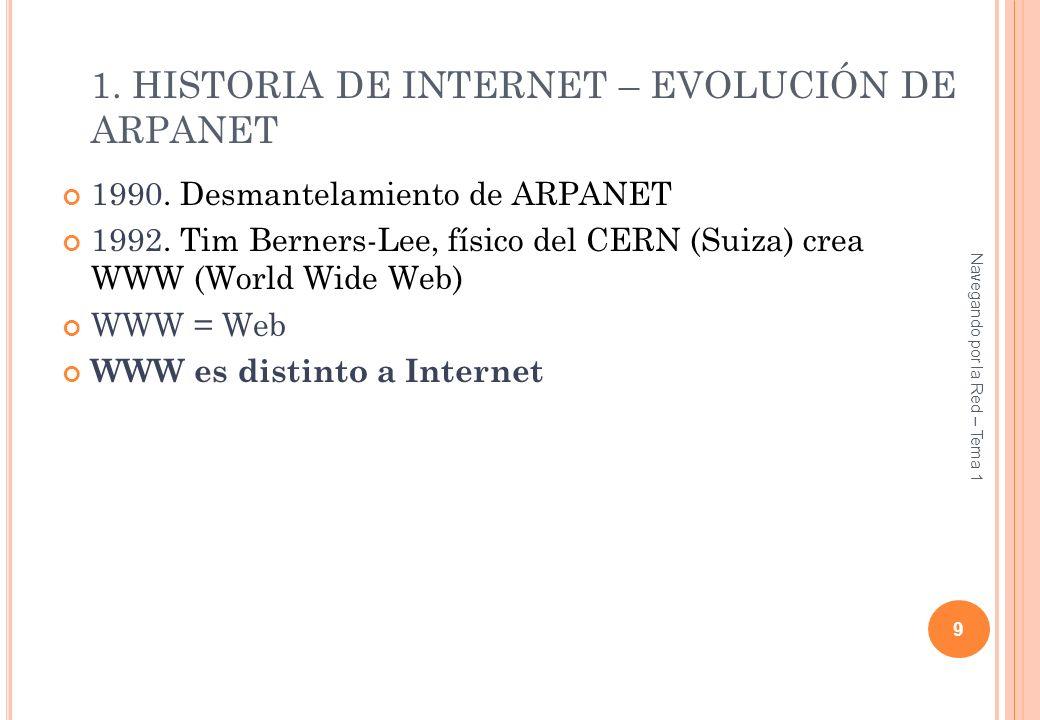 1990. Desmantelamiento de ARPANET 1992. Tim Berners-Lee, físico del CERN (Suiza) crea WWW (World Wide Web) WWW = Web WWW es distinto a Internet 9 Nave