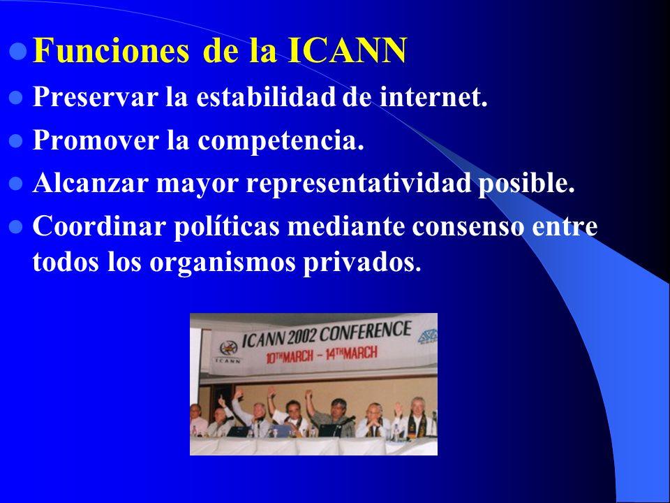 ¿Por qué surgió la ICANN? Globalización internet. Comercialización en internet. Rendición de cuentas y responsabilidades. Necesidad de estructuras adm