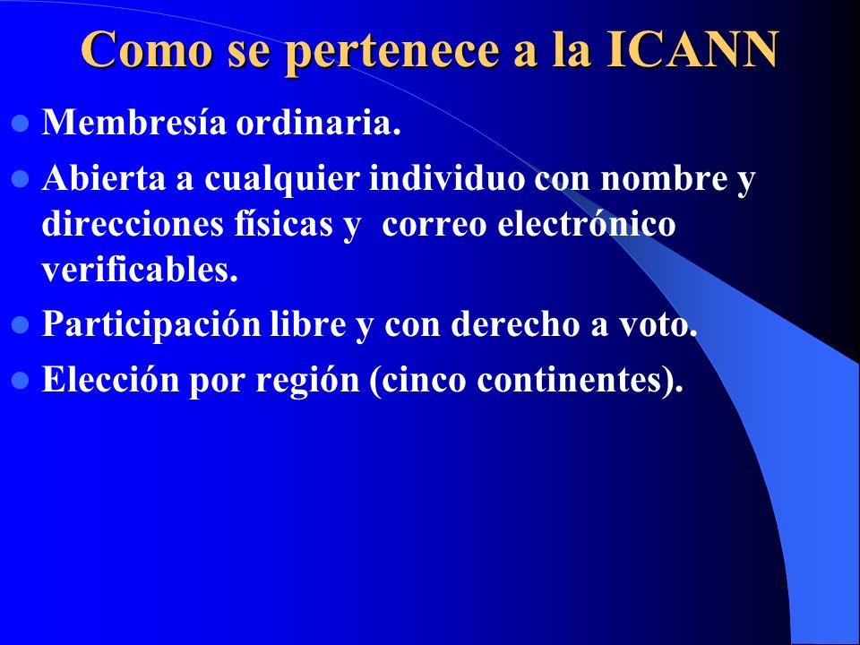 ICANN se divide en tres delegaciones encargadas de la gestión de direcciones IP. APNIC: delegación regional para Asia y Pácifico. ARIN: Delegación reg