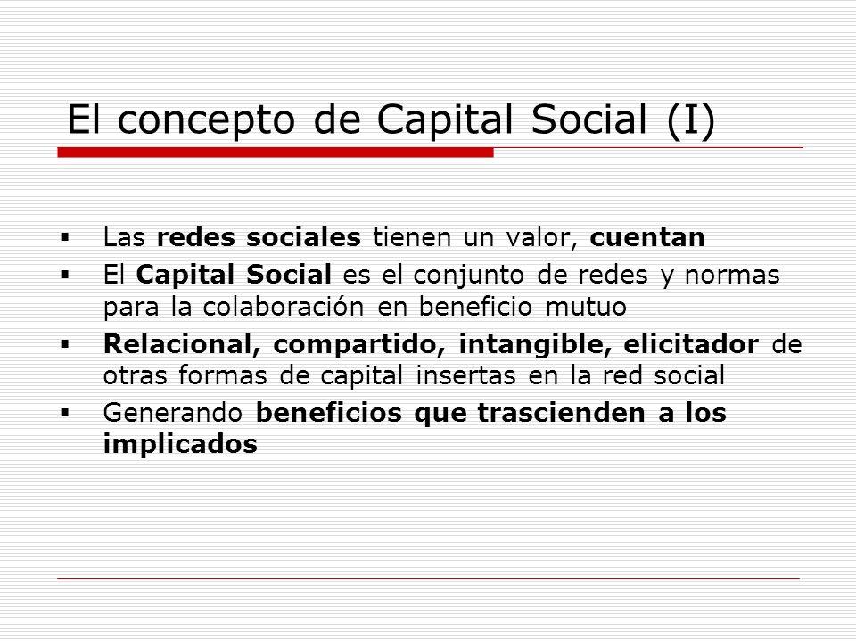 El concepto de Capital Social (I) Las redes sociales tienen un valor, cuentan El Capital Social es el conjunto de redes y normas para la colaboración en beneficio mutuo Relacional, compartido, intangible, elicitador de otras formas de capital insertas en la red social Generando beneficios que trascienden a los implicados