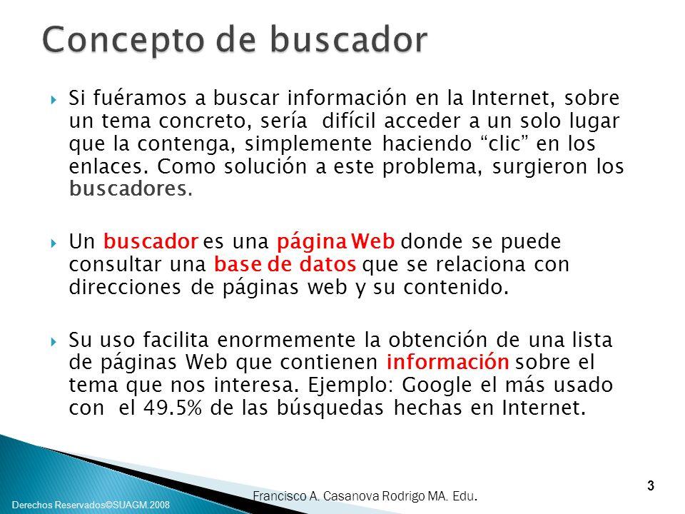 Francisco A. Casanova Rodrigo MA. Edu. Derechos Reservados©SUAGM.2008 Si fuéramos a buscar información en la Internet, sobre un tema concreto, sería d