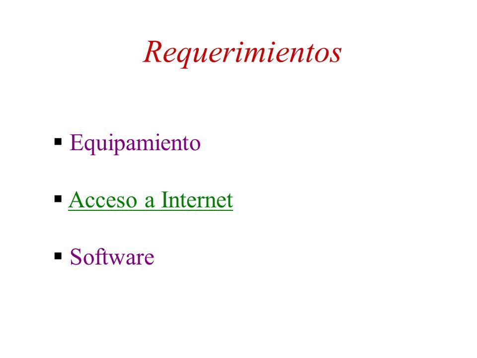 Requerimientos Equipamiento Acceso a Internet Software