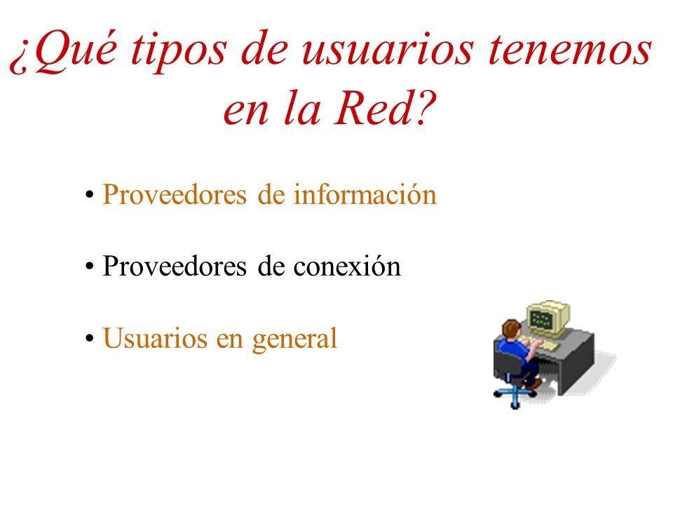 ¿Qué tipos de usuarios tenemos en la Red? Proveedores de información Proveedores de conexión Usuarios en general
