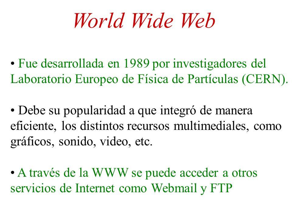 World Wide Web Fue desarrollada en 1989 por investigadores del Laboratorio Europeo de Física de Partículas (CERN). Debe su popularidad a que integró d