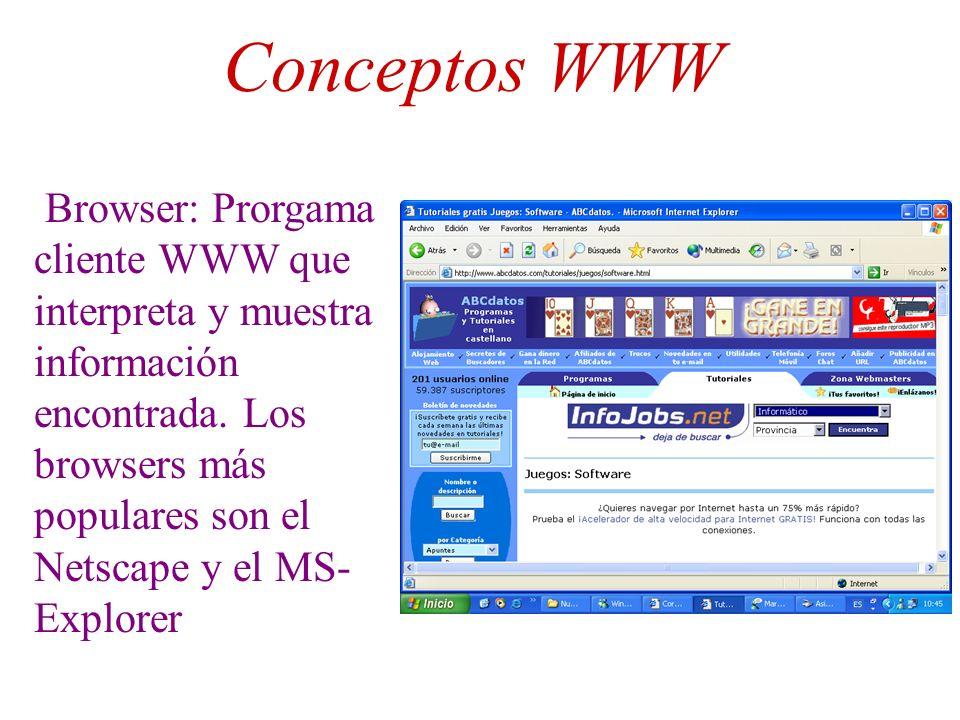 Conceptos WWW Browser: Prorgama cliente WWW que interpreta y muestra información encontrada. Los browsers más populares son el Netscape y el MS- Explo