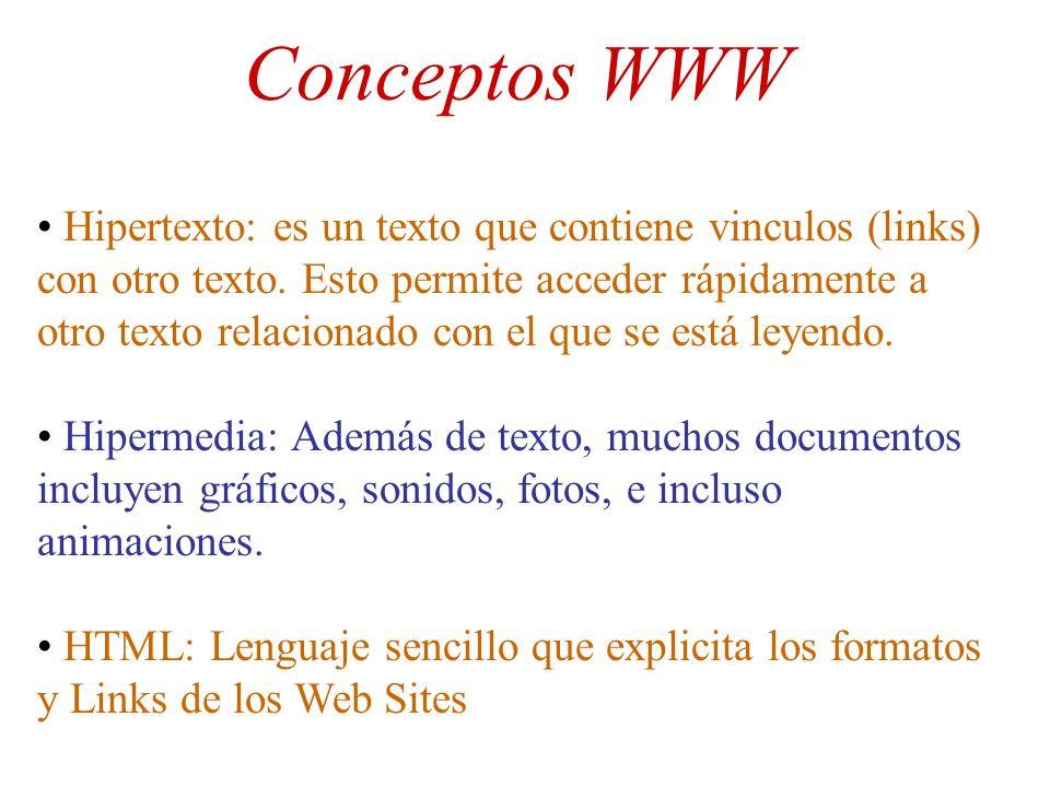 Conceptos WWW Hipertexto: es un texto que contiene vinculos (links) con otro texto. Esto permite acceder rápidamente a otro texto relacionado con el q