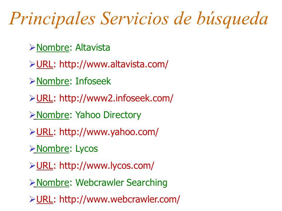 Principales Servicios de búsqueda Nombre: Altavista URL: http://www.altavista.com/ Nombre: Infoseek URL: http://www2.infoseek.com/ Nombre: Yahoo Direc