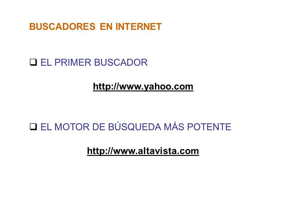 BUSCADORES EN INTERNET EL PRIMER BUSCADOR http://www.yahoo.com EL MOTOR DE BÚSQUEDA MÁS POTENTE http://www.altavista.com
