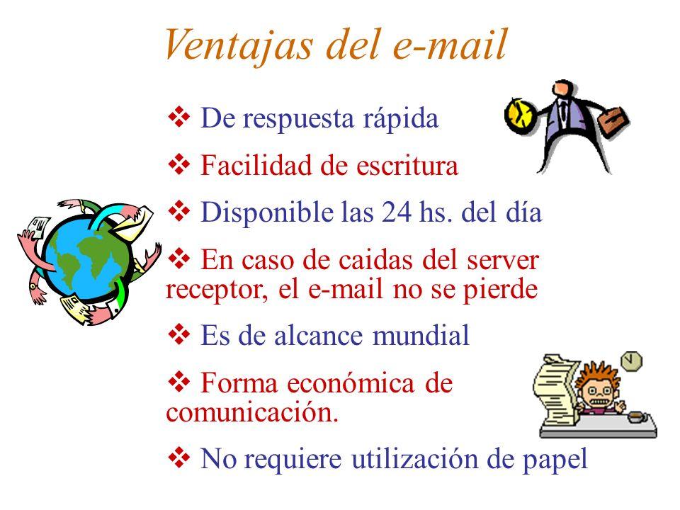 Ventajas del e-mail De respuesta rápida Facilidad de escritura Disponible las 24 hs. del día En caso de caidas del server receptor, el e-mail no se pi