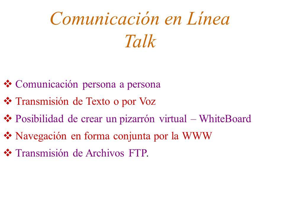 Comunicación en Línea Talk Comunicación persona a persona Transmisión de Texto o por Voz Posibilidad de crear un pizarrón virtual – WhiteBoard Navegac