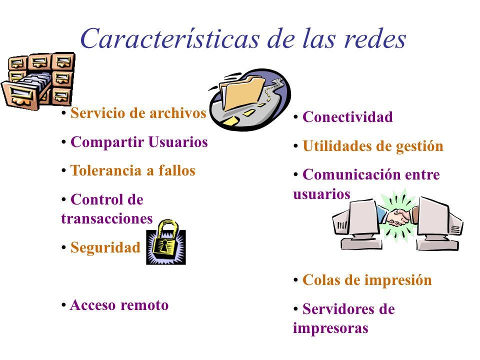 Características de las redes Servicio de archivos Compartir Usuarios Tolerancia a fallos Control de transacciones Seguridad Acceso remoto Conectividad