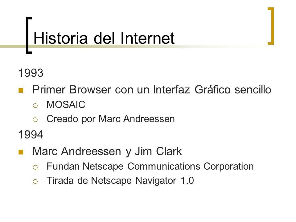 Historia del Internet 1993 Primer Browser con un Interfaz Gráfico sencillo MOSAIC Creado por Marc Andreessen 1994 Marc Andreessen y Jim Clark Fundan Netscape Communications Corporation Tirada de Netscape Navigator 1.0