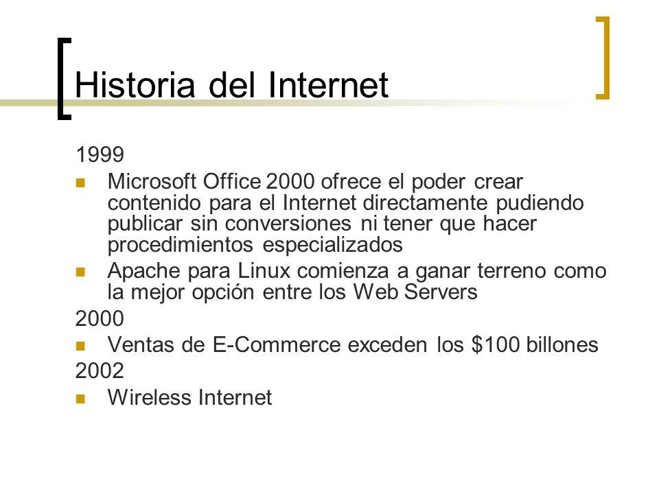 Historia del Internet 1999 Microsoft Office 2000 ofrece el poder crear contenido para el Internet directamente pudiendo publicar sin conversiones ni tener que hacer procedimientos especializados Apache para Linux comienza a ganar terreno como la mejor opción entre los Web Servers 2000 Ventas de E-Commerce exceden los $100 billones 2002 Wireless Internet