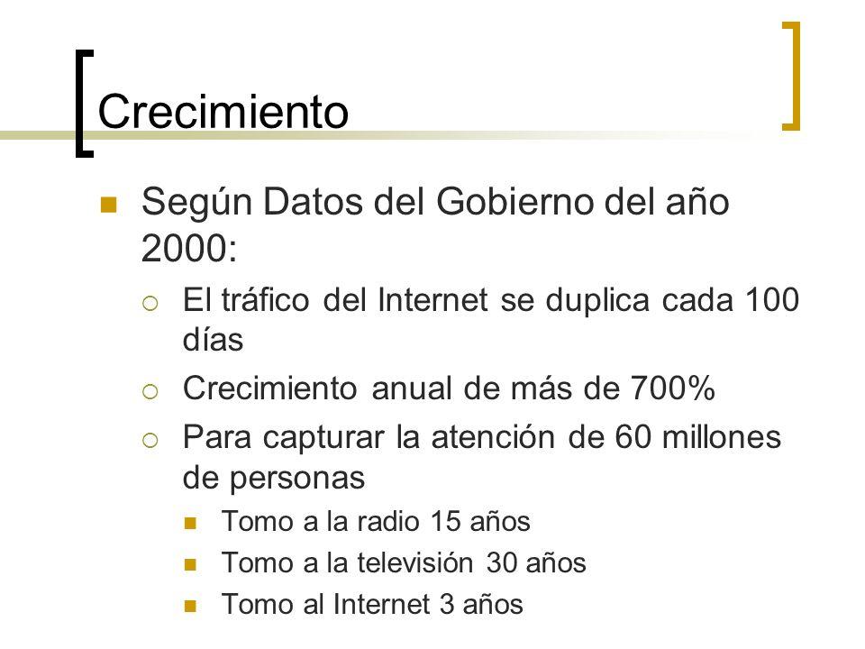 Crecimiento Según Datos del Gobierno del año 2000: El tráfico del Internet se duplica cada 100 días Crecimiento anual de más de 700% Para capturar la atención de 60 millones de personas Tomo a la radio 15 años Tomo a la televisión 30 años Tomo al Internet 3 años