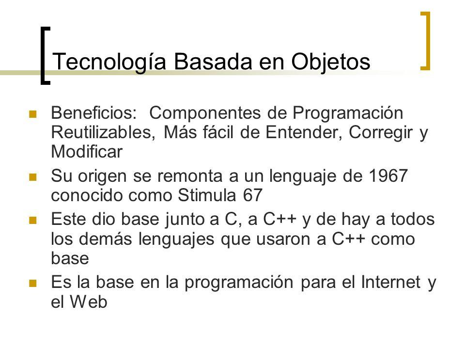 Tecnología Basada en Objetos Beneficios: Componentes de Programación Reutilizables, Más fácil de Entender, Corregir y Modificar Su origen se remonta a un lenguaje de 1967 conocido como Stimula 67 Este dio base junto a C, a C++ y de hay a todos los demás lenguajes que usaron a C++ como base Es la base en la programación para el Internet y el Web