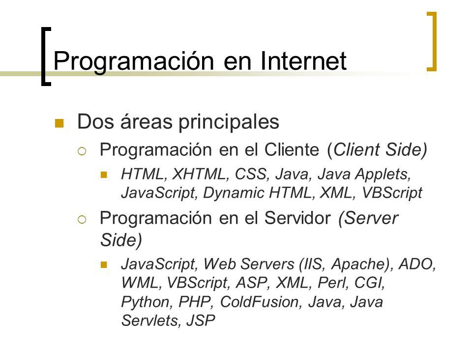 Programación en Internet Dos áreas principales Programación en el Cliente (Client Side) HTML, XHTML, CSS, Java, Java Applets, JavaScript, Dynamic HTML, XML, VBScript Programación en el Servidor (Server Side) JavaScript, Web Servers (IIS, Apache), ADO, WML, VBScript, ASP, XML, Perl, CGI, Python, PHP, ColdFusion, Java, Java Servlets, JSP