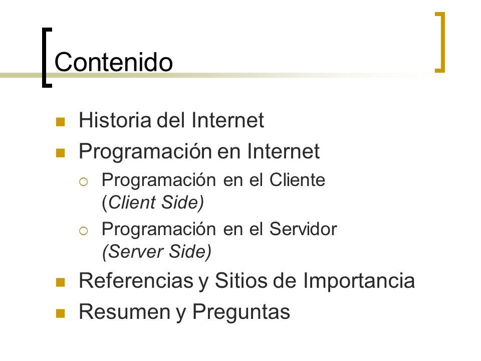 Contenido Historia del Internet Programación en Internet Programación en el Cliente (Client Side) Programación en el Servidor (Server Side) Referencias y Sitios de Importancia Resumen y Preguntas