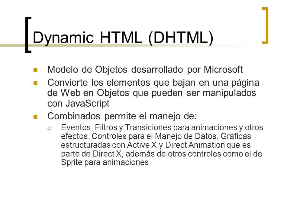 Dynamic HTML (DHTML) Modelo de Objetos desarrollado por Microsoft Convierte los elementos que bajan en una página de Web en Objetos que pueden ser manipulados con JavaScript Combinados permite el manejo de: Eventos, Filtros y Transiciones para animaciones y otros efectos, Controles para el Manejo de Datos, Gráficas estructuradas con Active X y Direct Animation que es parte de Direct X, además de otros controles como el de Sprite para animaciones