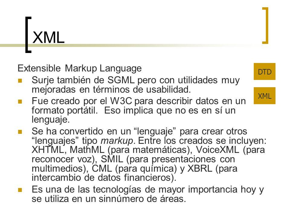 XML Extensible Markup Language Surje también de SGML pero con utilidades muy mejoradas en términos de usabilidad. Fue creado por el W3C para describir