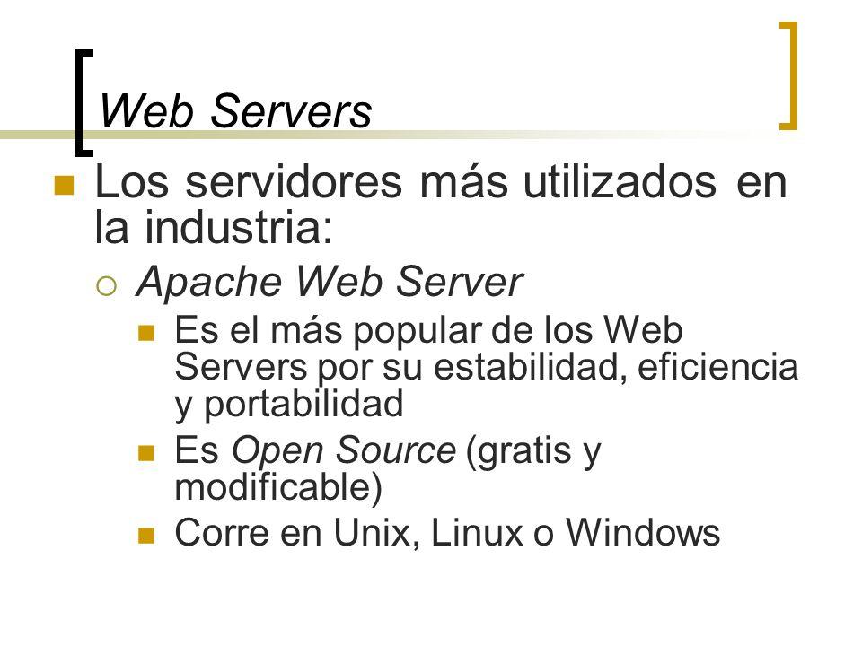 Web Servers Los servidores más utilizados en la industria: Apache Web Server Es el más popular de los Web Servers por su estabilidad, eficiencia y portabilidad Es Open Source (gratis y modificable) Corre en Unix, Linux o Windows