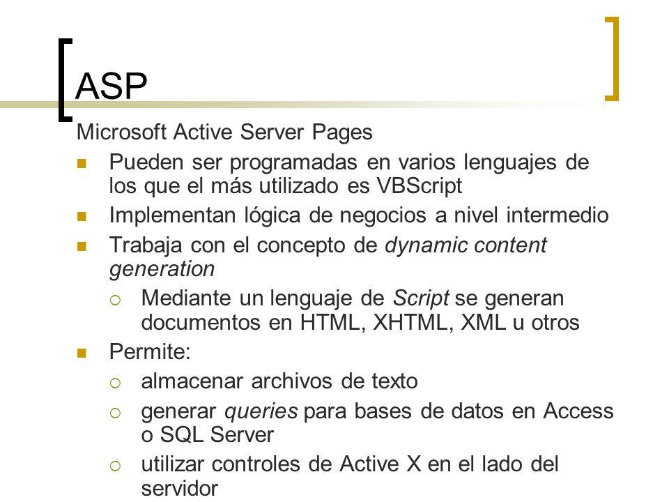 ASP Microsoft Active Server Pages Pueden ser programadas en varios lenguajes de los que el más utilizado es VBScript Implementan lógica de negocios a nivel intermedio Trabaja con el concepto de dynamic content generation Mediante un lenguaje de Script se generan documentos en HTML, XHTML, XML u otros Permite: almacenar archivos de texto generar queries para bases de datos en Access o SQL Server utilizar controles de Active X en el lado del servidor