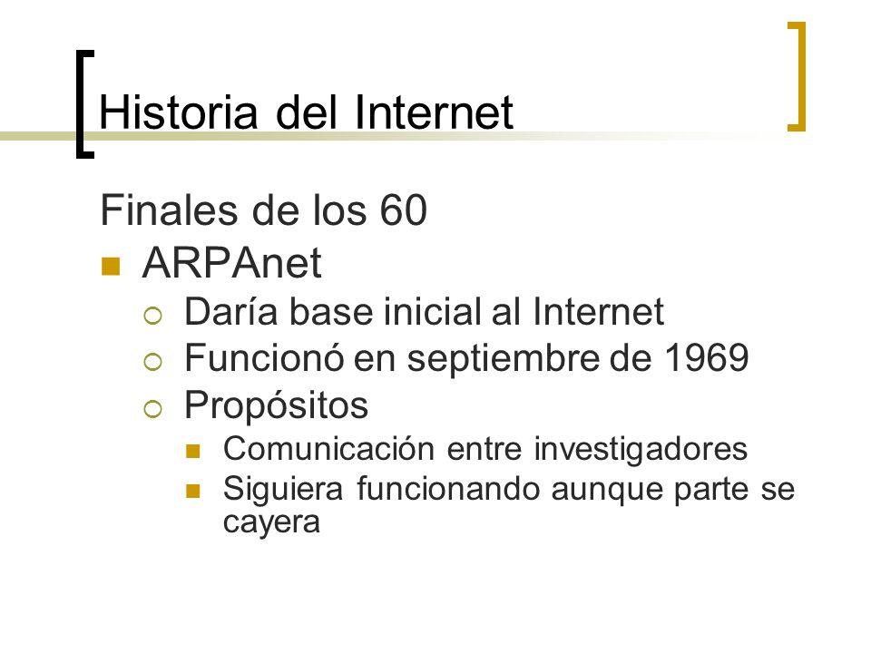 Historia del Internet Finales de los 60 ARPAnet Daría base inicial al Internet Funcionó en septiembre de 1969 Propósitos Comunicación entre investigadores Siguiera funcionando aunque parte se cayera