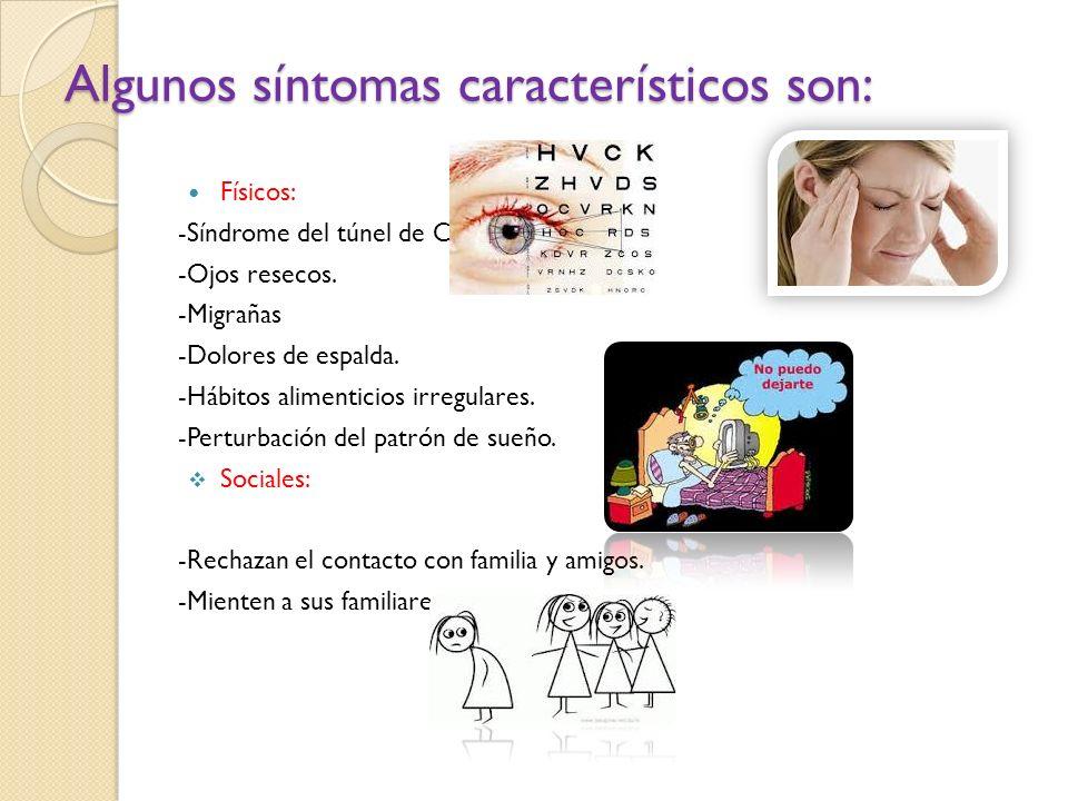 Algunos síntomas característicos son: Físicos: -Síndrome del túnel de Carpio. -Ojos resecos. -Migrañas -Dolores de espalda. -Hábitos alimenticios irre