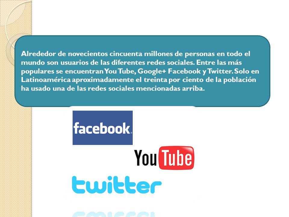 Alrededor de novecientos cincuenta millones de personas en todo el mundo son usuarios de las diferentes redes sociales. Entre las más populares se enc