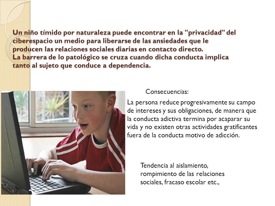 Un niño tímido por naturaleza puede encontrar en la privacidad del ciberespacio un medio para liberarse de las ansiedades que le producen las relaciones sociales diarias en contacto directo.
