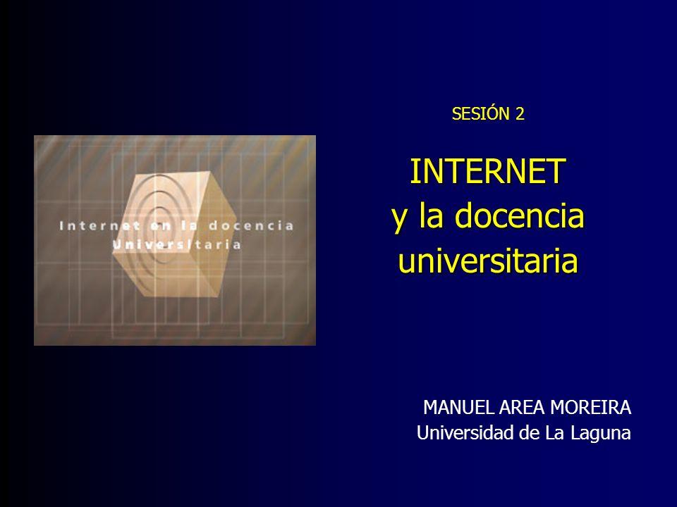 INTERNET EN LA UNIVERSIDAD Web institucional Docencia en la red Campus Virtual Administración virtual Biblioteca virtual Webs de grupos Investigación y profesores